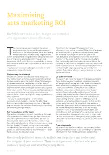 Maximising return on investment (ROI) in arts marketing