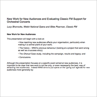 New work for new audiences resource screen shot
