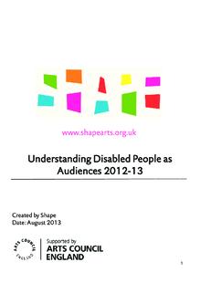 Understanding disabled people as audiences