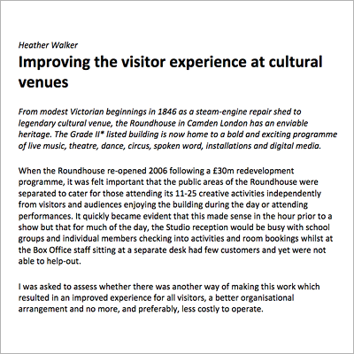 Improving the visitor experience resource screen shot
