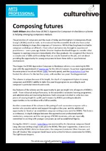 Composer-in-residence scheme nurtures talent