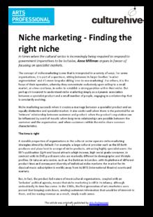 Niche marketing: focusing on the few