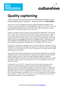 Captioning theatre performances for deaf and hard of hearing people