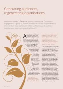 Generating audiences, regenerating arts and cultural organisations