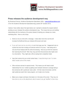 Press releases the audience development way