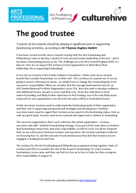 The good trustee – developing a leadership role in supporting fundraising