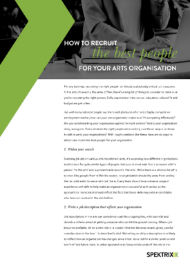 How to recruit the best people for your arts organisation