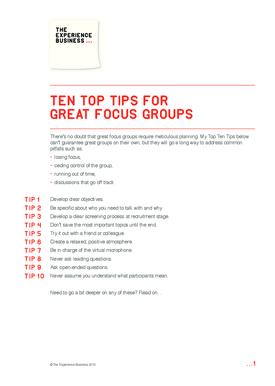 Ten Top Tips for Great Focus Groups