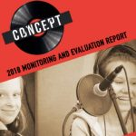 Concept Monitoring and Evaluation Report cover featuring 2 young people making a recording
