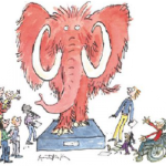 A pink Mammoth on a plinth being admired by several awe-inspired people