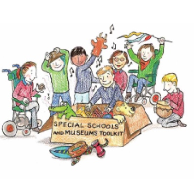 A colourful illustration of several children taking toys from a large cardboard box