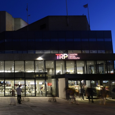 Frontage of Theatre Royal Plymouth at night