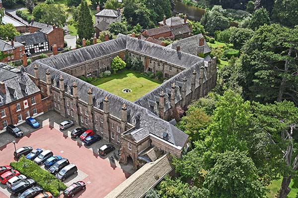 Aerial shot of Hereford Cathedral Cloisters.