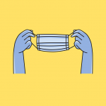 Graphic of a disposable facemask