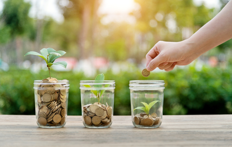 Woman putting coin in the jar with plants