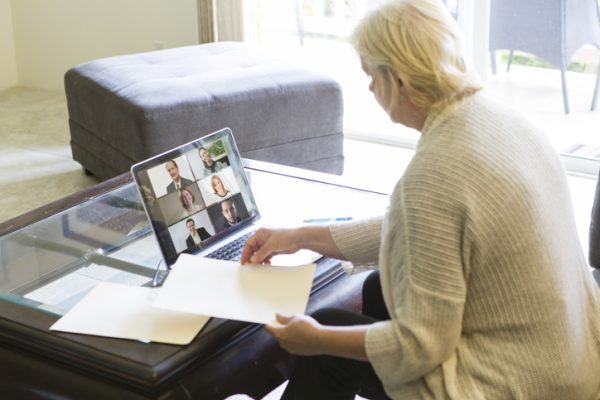 Businesswoman Working with Virtual Business Group through Live Streaming, video Conferencing Virtual Office