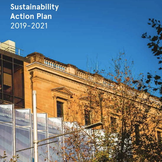Cover of the Australian Museum's Sustainability Action Plan showing the facade of their building set against a blue sky and leafy trees.