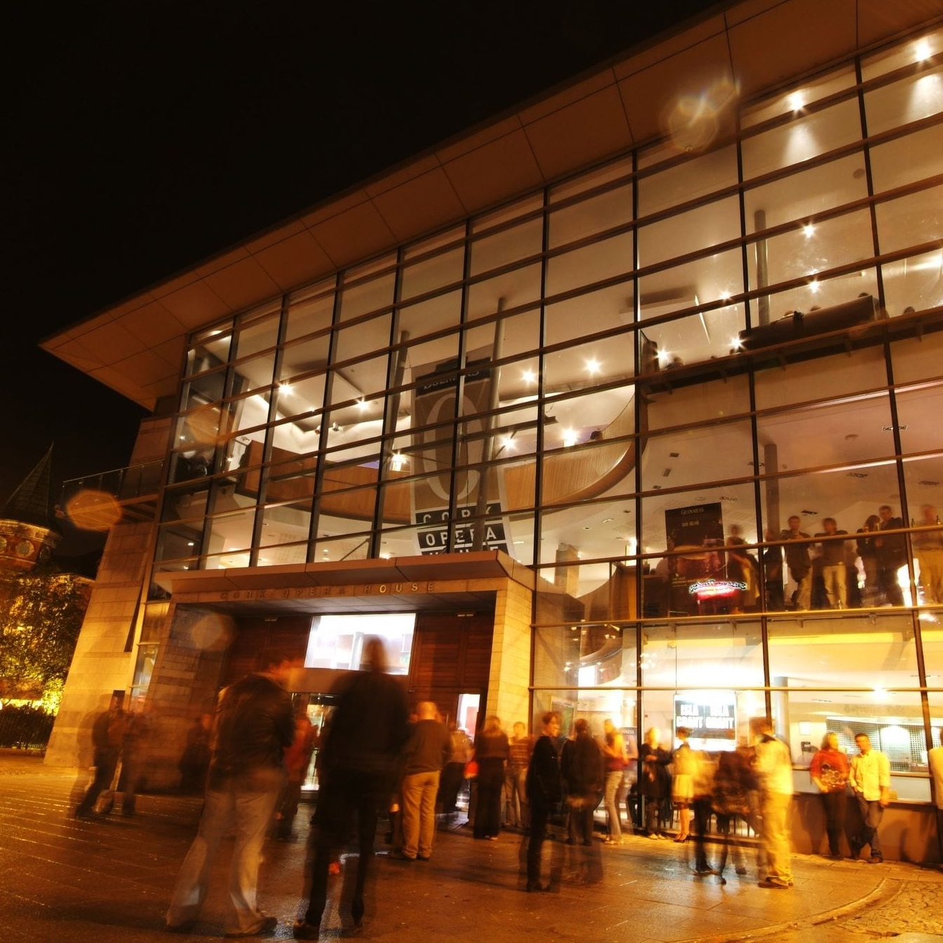 Night scene of the frontage of Cork Opera House