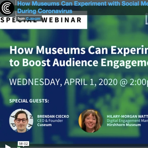 Webinar: How Museums can experiment with social media during Coronavirus