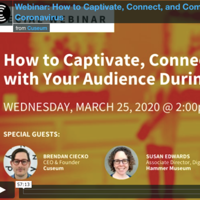 Webinar: How to Captivate, Connect and Communicate with your Audience during Coronavirus