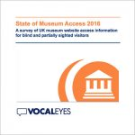 State of Museum Access title and VocalEyes logo