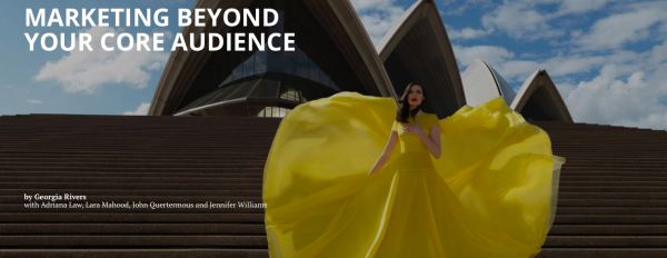 A woman in a flowing yellow dress stands in front of the Sydney Opera House