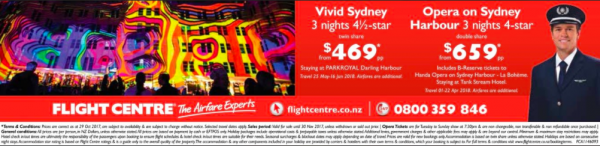 Colourful advert for 3 night holidays including opera tickets