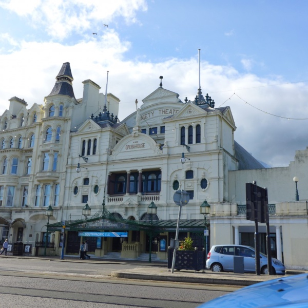 Impressive white stone frontage of The Gaiety Theatre, Isle of Man