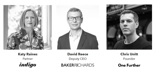 Three head and shoulders shots: Katie Raines, Indigo; David Reece BakerRichards; Chris Unitt, One Further.