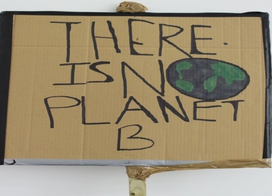 A cardboard placard, There is No Planet B.