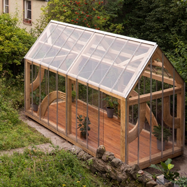 A wood and glass greenhouse sits in a derelict space overrun with weeds