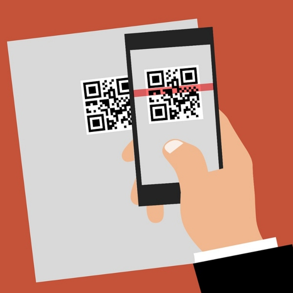 Illustration of a hand holding a smart phone scanning a QR code