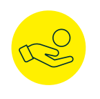 Yellow circle with a hand holding a ball