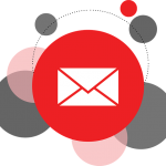 A white letter email symbol in a red circle surrounded by other circles of different sizes and colours
