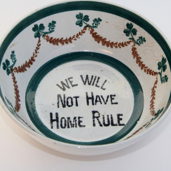 Image of bowl with We will not have home rule written at the bottom.
