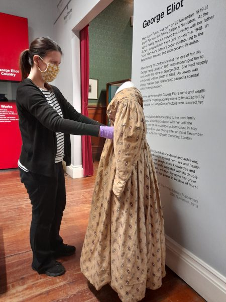 Dressing a mannequin in the museum