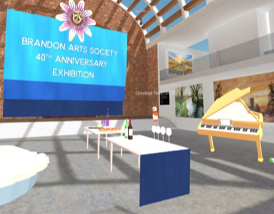 A virtual gallery opening with paintings on the wall, a grand piano, tables with wine, canapes and glasses
