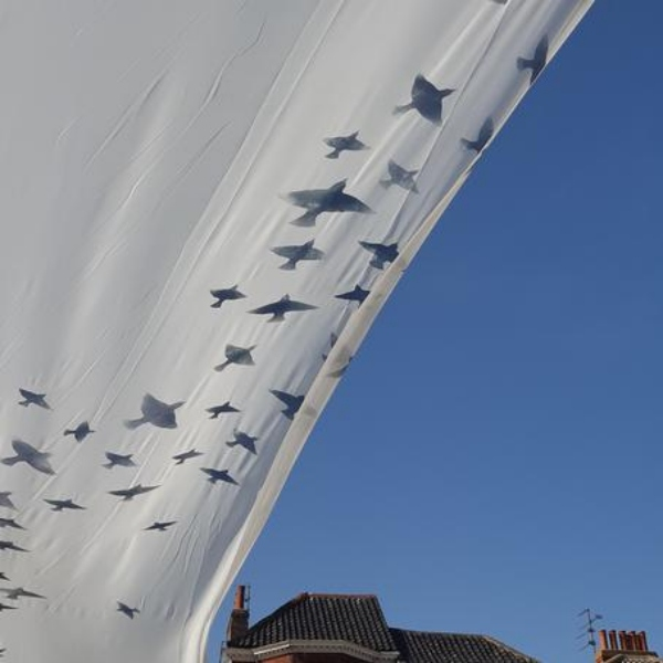 A white swathe of cloth with silhouettes of birds against a clear sky and rooftops