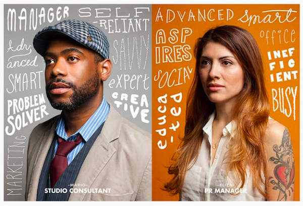 A bearded man wearing a cap and a young woman with a sleeveless shirt that shows a prominent tattoo on her upper arm. They are both surrounded by words that describe their persona. For the man: problem solver, smart, expert, creative. For the woman: busy, educated, aspires