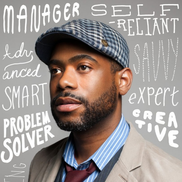 A bearded man wearing a checked cap surrounded by many words describing his persona - creative, savvy, self-reliant, expert, manager, advanced, problem solver, smart