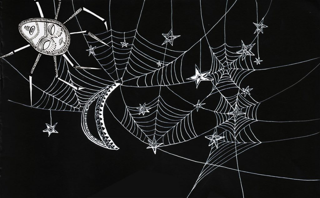 Drawing of a spiders web and spider