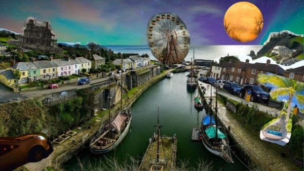 A canal leading to the sea. There are several boars and barges of different sizes on the Canal. Terraced housing nestles on the hills on either side including several cars parked between the houses and the canal bank. Cut-out photos have been added including a tropical beach scene with palm tree, a Big Wheel amusement ride, a large yellow moon embellished with silhouettes of trees, an imposing mansion house and a flying car.
