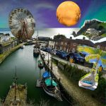A canal meets the sea. Houses line the canal bank with several cars parked outside. A large moon is in the sky and a Big Wheel amusement ride is in the distance.