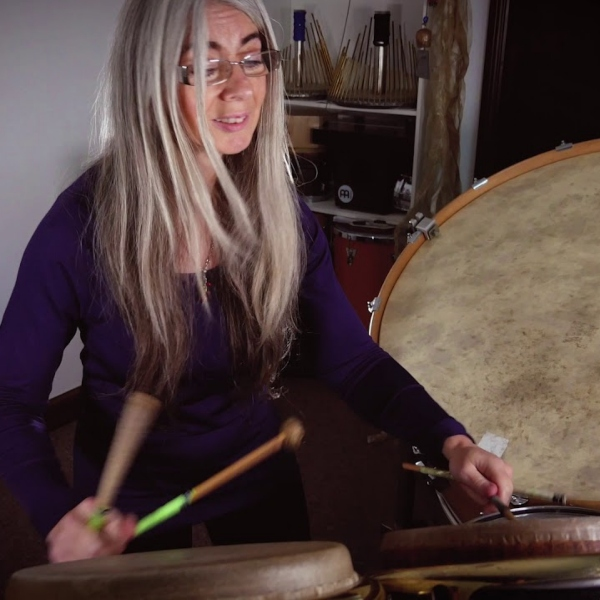 Evelyn Glennie in her studio playing drums