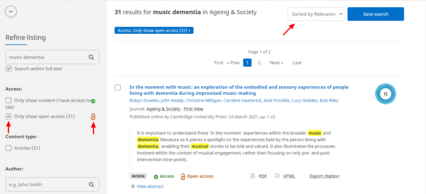 Ageing & society website search results for open access articles related to music dementia