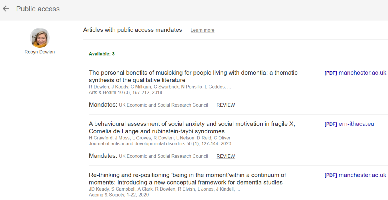 Search results for open access articles by Dr Robyn Dowlen using Google Scholar