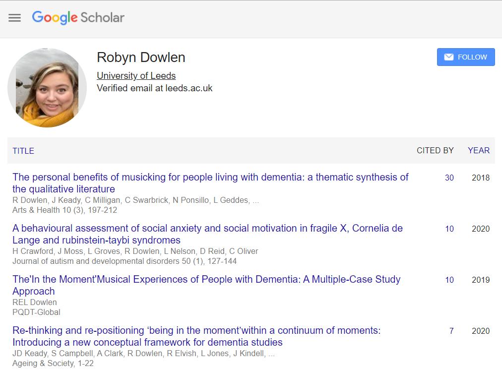 Robyn Dowlen's author profile on Google Scholar