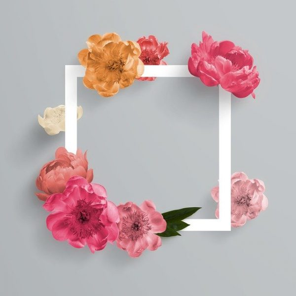 A white empty square picture frame covered with flowers