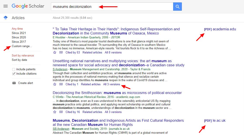 Google Scholar search results for museums decolonization preprints